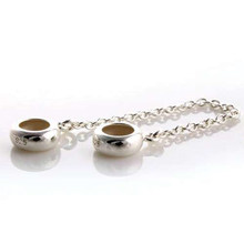 Pandulaso Simple Safety Chain Stopper Beads Fit Charms Silver 925 Original Bracelets & Bangles Stop Beads for DIY Jewelry Making(China)