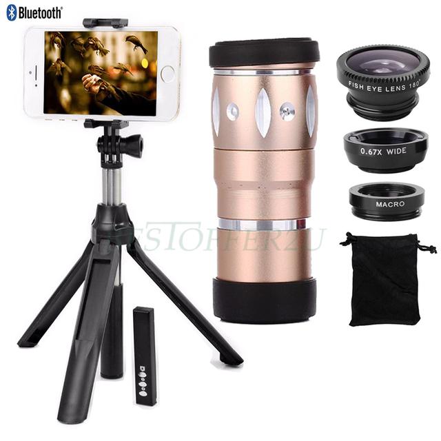 Para iphone 5 6 s 7 lentes olho de peixe grande angular macro Zoom Óptico de 10X de Zoom Telefoto Telescope Lens Titular Tripé Monopé Obturador