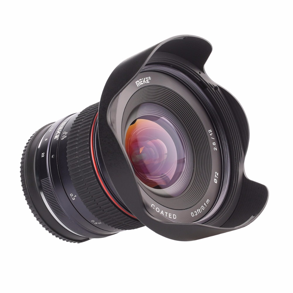 Meike 12mm f/2.8 Ultra Wide Angle Fixed Lens with Removeable Hood for Canon EF-M mount cameras meike 12mm f 2 8 wide angle fixed lens with removeable hood for panasonic olympus mirrorless camera mft m4 3 mount with aps c