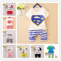 Summer new 6 months- 2 years old boys and girls children suit/harlan 7 minutes of pants + short sleeve T-shirt two piece suit