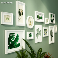 Photo Frames Modern Love Leaf Pastoral Green Tree Office/Store/Home Wall Decoration Wood Painting Pictures Frame Set HF9304