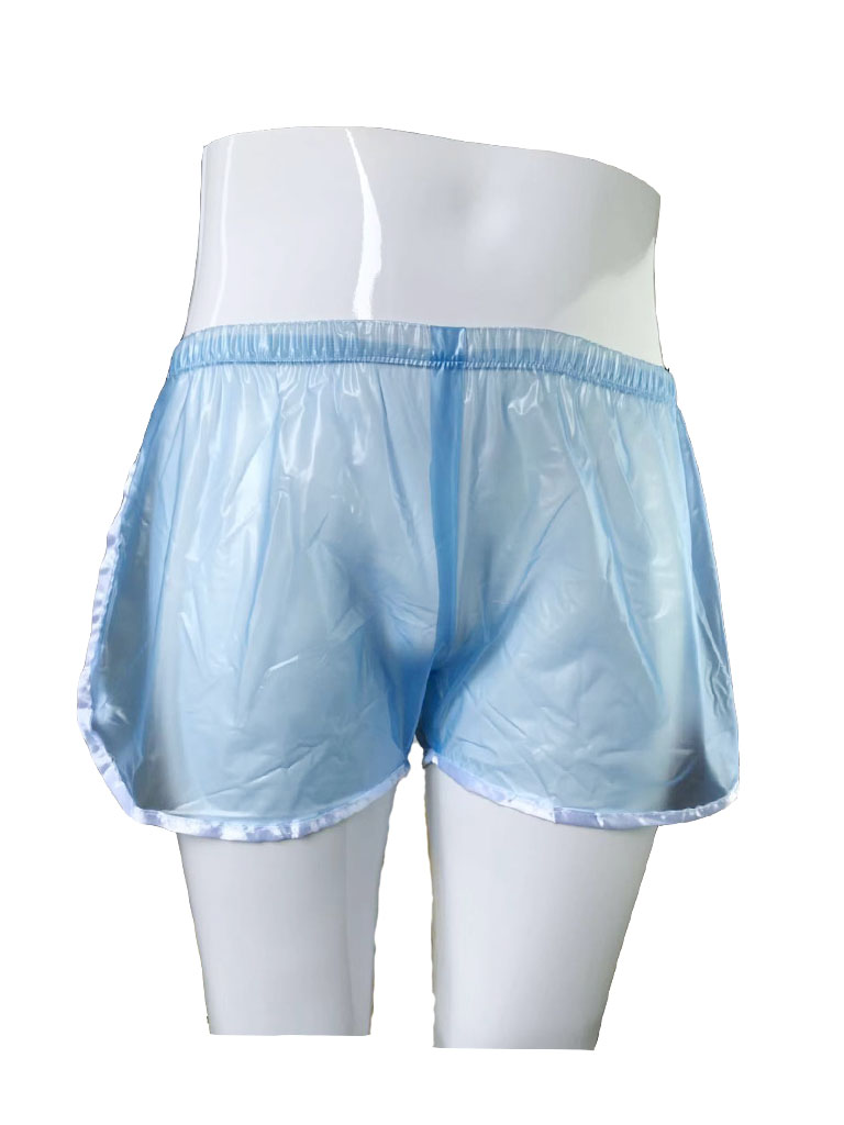 Haian Sporty Pull-on Plastic Pants Color Transparent Blue.P018-6