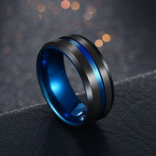 Hot Sale Groove Rings Black blue 2019 New Trendy Punk Stainless Steel