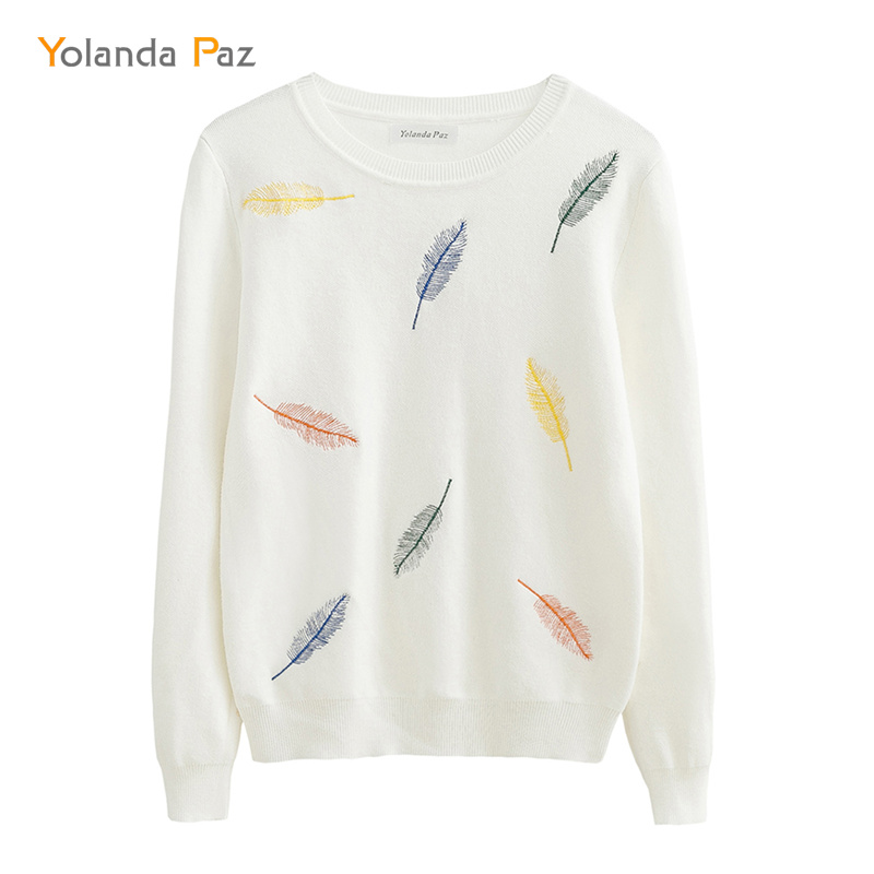 Yolanda Paz Hot !!! Autumn winter women fashion feather Embroidery Knitted sweaters black/white woman/girl casual sweater