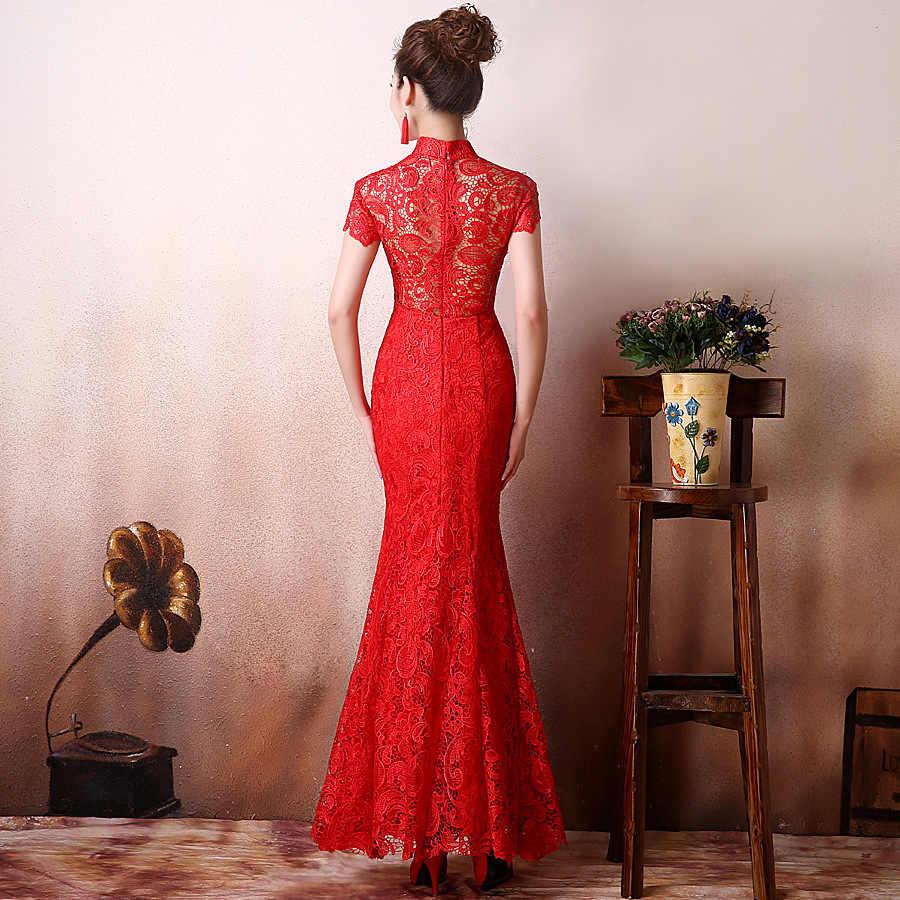 תחרה אדומה Cheongsam Qipao הסיני מודרני נשים שמלת כלה מסורתית מזרחי קולרים סקסי הארוך צ 'י פאו Vestido משלוח חינם