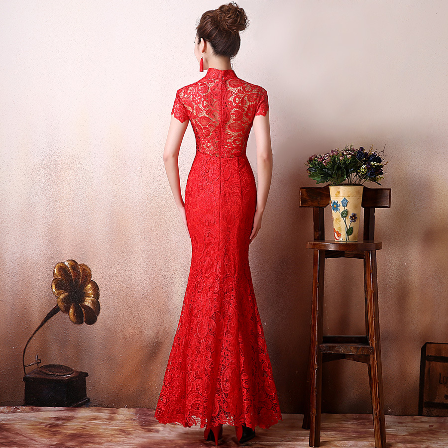Qipao Red Lace Cheongsam Modern Chinese Traditional Wedding Dress Women Vestido Oriental Collars Sexy Long Qi Pao Free Shipping-in Cheongsams from Novelty & Special Use    1