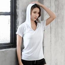 Summer Women Yoga T-shirts Cycling Pullover Short Sleeve Hoodies Shirts Fitness Tops V-neck Quick Dry Running Hooded Sweatshirts