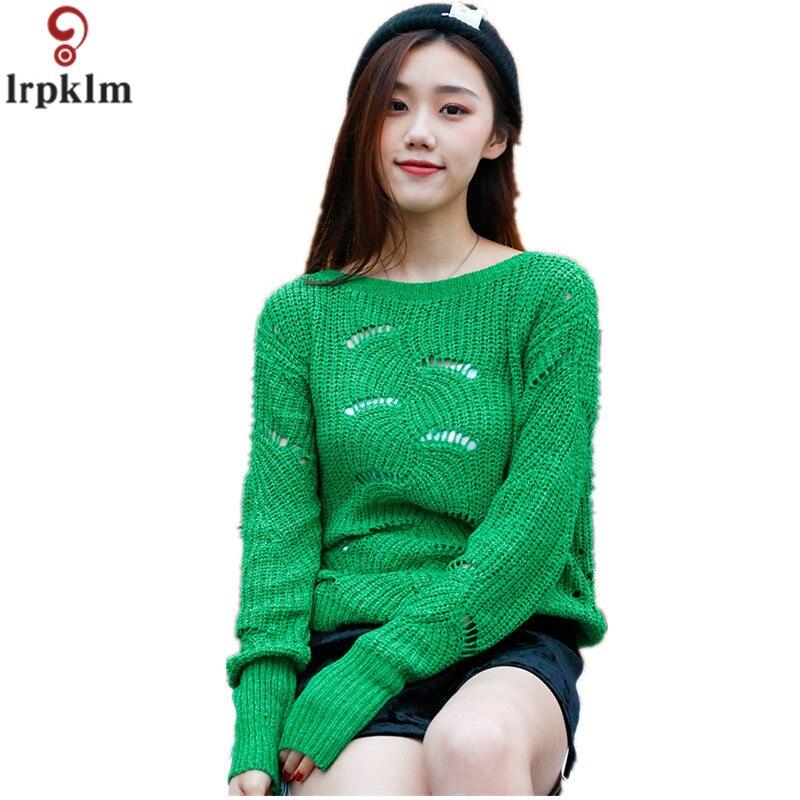 Femmes hauts Sexy creux chandail 2018 printemps nouveau lâche mode décontracté vert chandail femmes court coréen pulls pull CH242