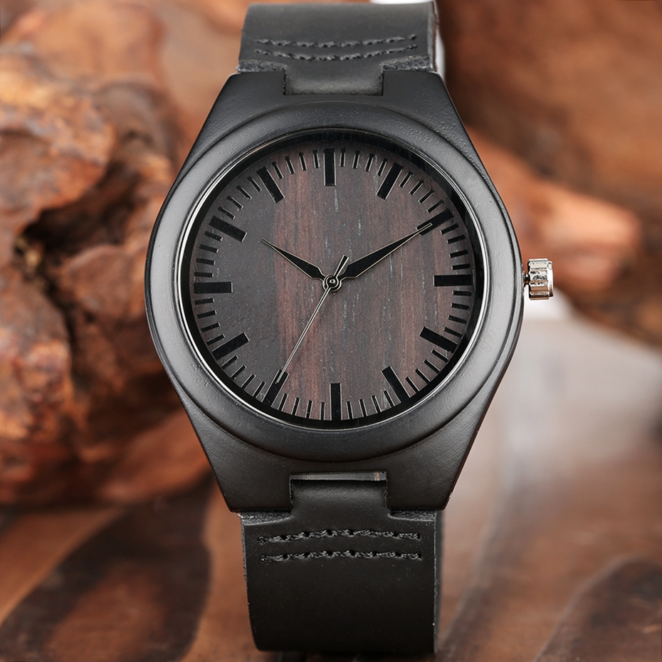 MY MAN Engraved Word Full Black Men's Ebony Wood Watch Clock Male Unique Quartz Leather Valentines Gifts for Husband Boyfriend  2020 2019 2 (5)