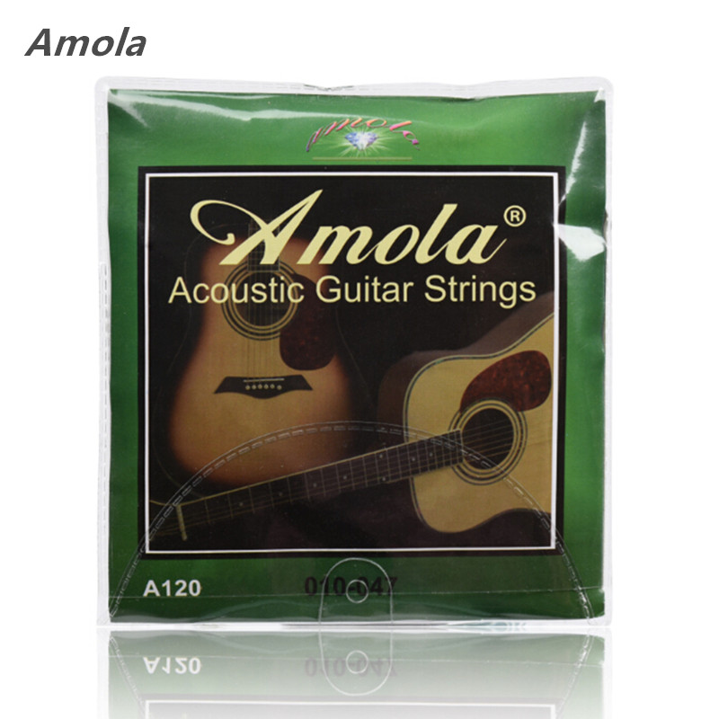 Amola Acoustic Guitar Strings Set 010 012 011 Pure Copper Steel 010-047 Acoustic Wound Guitar 1-6th String Musical Instruments amola 3sets lot et200 009 042 electric guitar strings nickel alloy wound musical instruments accessories super light