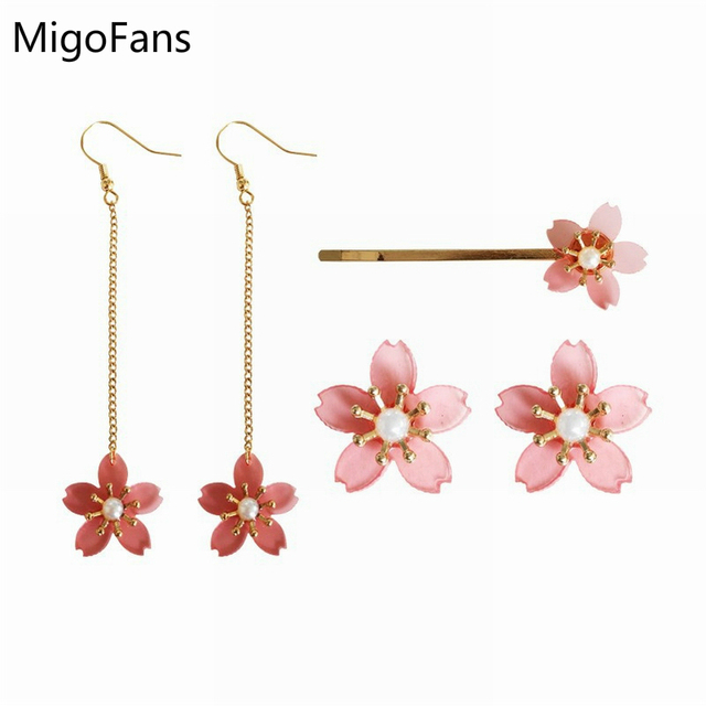 Acrylic Pink Peach Blossoms Lovely Flower Simulated Pearl Stud Earrings For S Cute Sakura Cherry Blossom