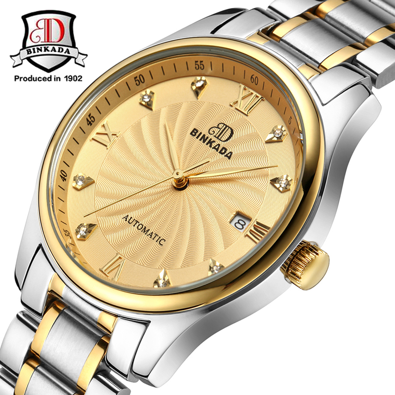 2017 Automatic Watch Men Luxury BINKADA Waterproof Diamond Sapphire Men Gold Watch Men Watches Top Brand Classic Fashion Watch