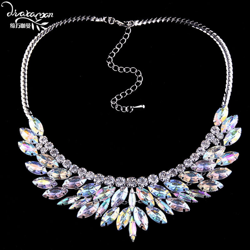 Dvacaman Brand Hot Sale Shine AB Crystal Rhinestone Chokers Necklace Women Short Clavicle Statement Necklace Party Jewelry N67