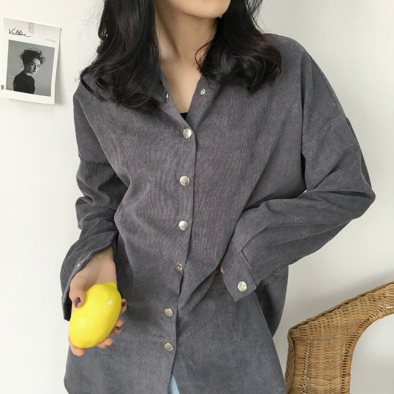 autumn corduroy single breasted solid hooded thin   trench   coat female plus size loose long sleeve long windbreaker real shot