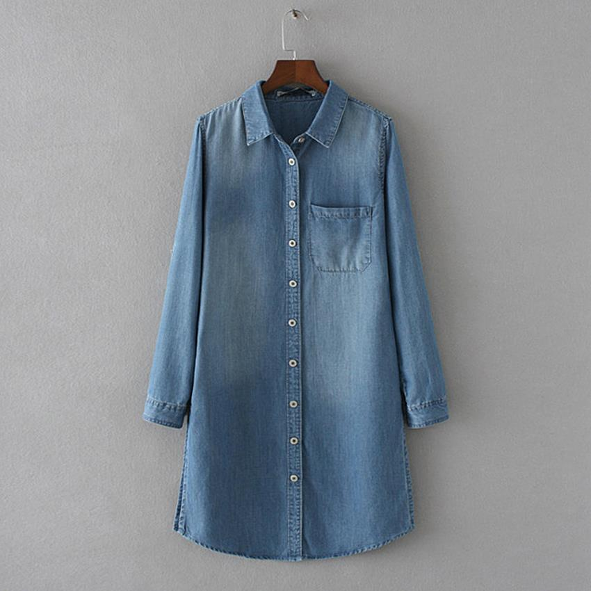 f10fd20ab63 Vintage Washed Boyfriend Long Jeans Denim Shirt Women Tops And Blouses 2015  Autumn Side Split Casual Roll Up Sleeve Shirts Coat-in Blouses   Shirts  from ...