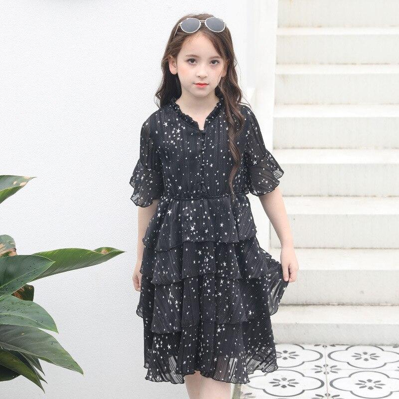 Летнее черное платье для больших девочек шифоновое платье принцессы в горошек детская одежда детское платье для девочек 8, 10, 12, 14, 16 лет, A8A1