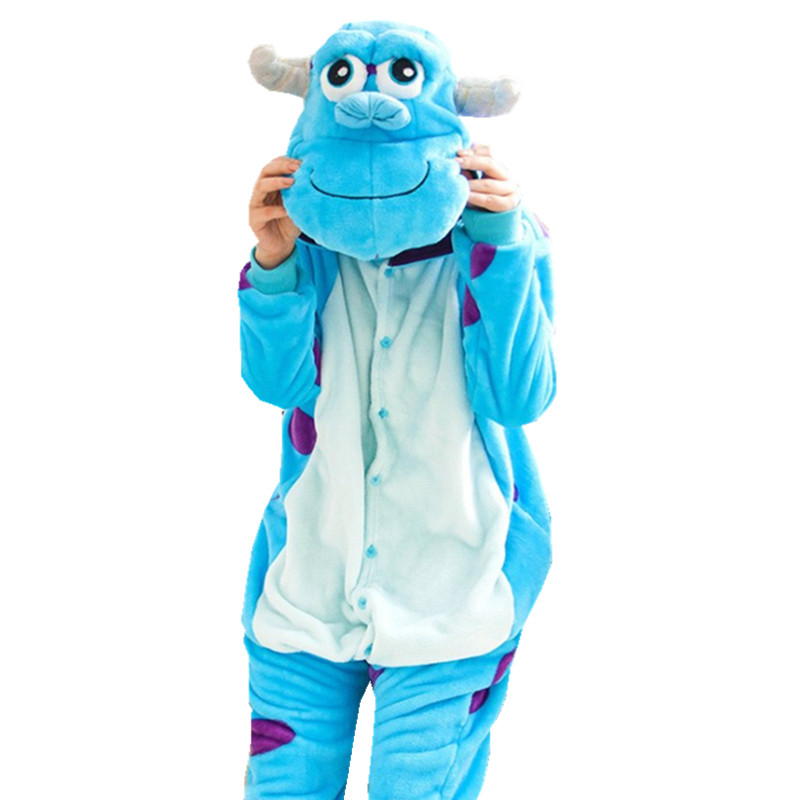 "Tlustý měkký flanel James P. ""Sulley"" Sullivan Onesie Pajama Monsters Sully kostým Halloween Carnival Party Clothing"