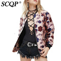 SCQP Floral Printed Pink Satin Bomber Jacket Ladies Zippers Pockets Blouson Bombers Femme Fashion Autumn 2016 Women Basic Coats