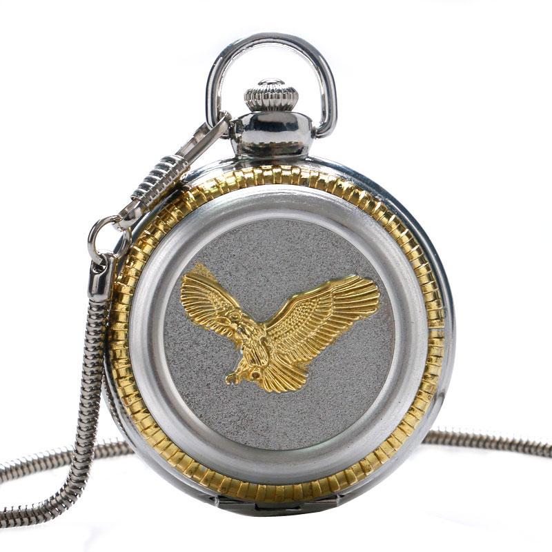 Luxury 3D Golden Eagle Pattern Cover Quartz Pocket Watch With Snake Bone Chain Watch Cool Silver Fob Men Women Quartz Clock Hour