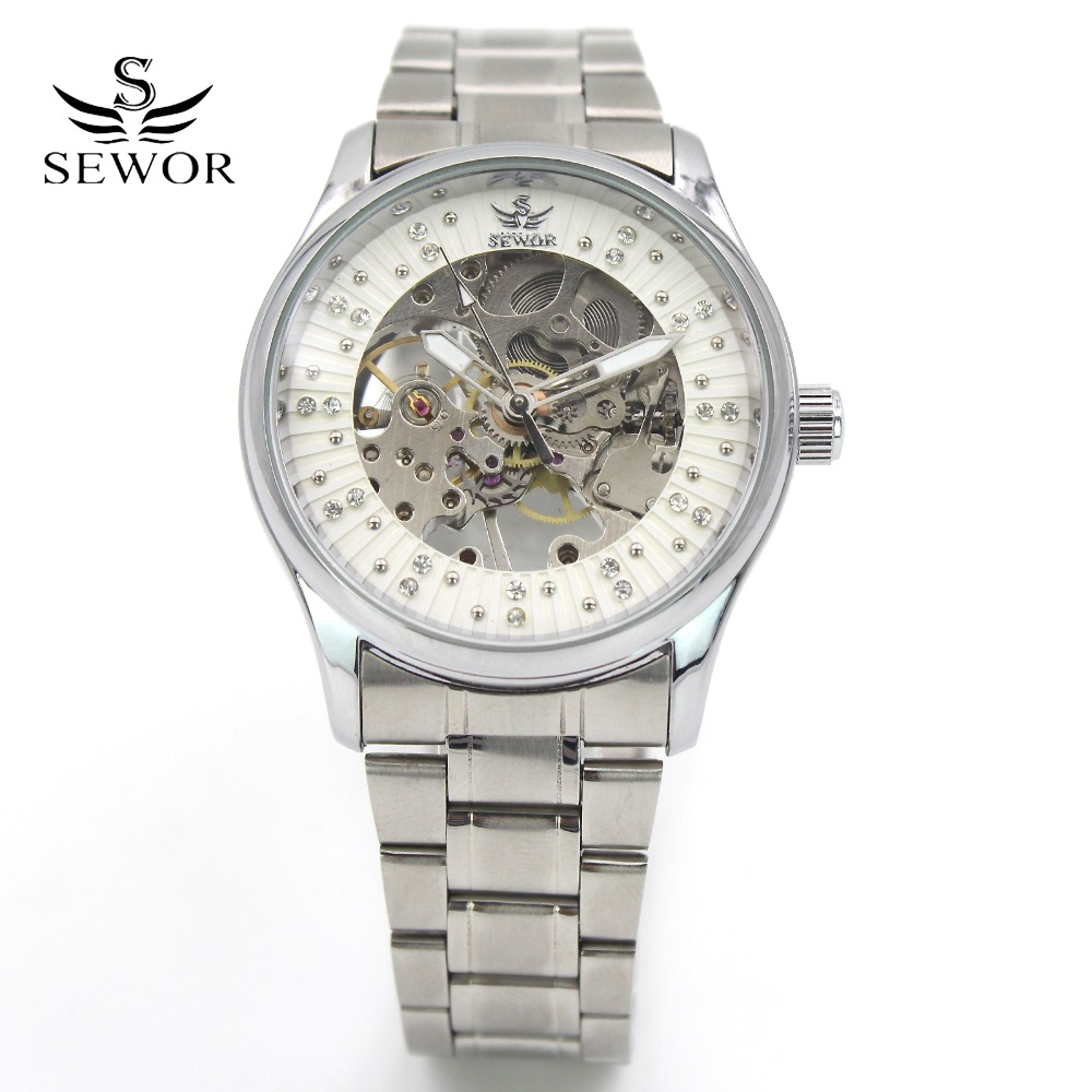 Men Fashion Mechanical Wrist Watch Stainless Steel Band