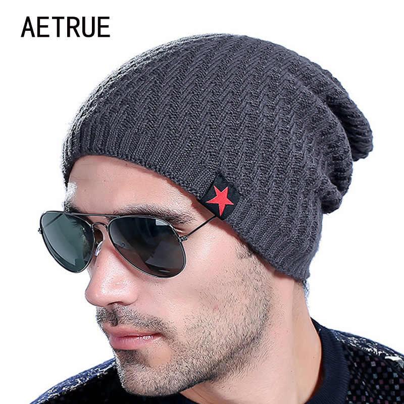 f5a46ed8f9c ... 2018 Brand Men s Knit Hat Beanies Men Winter Hats For Men Bonnet  Skullies Caps Women Winter ...