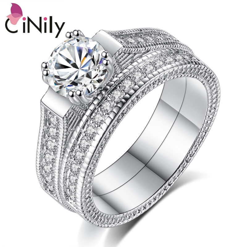 Cinily Silver-Plated Wedding-Ring Jewelry Rings Wholesale White Size-6-9 Cubic-Zirconia