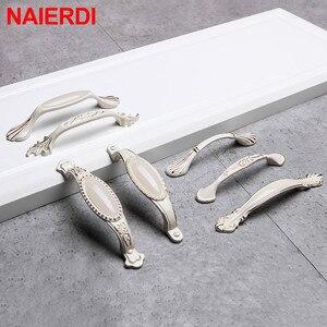 NAIERDI Ivory White Ceramic European Cabinet Handles Aluminum Alloy Door Kitchen Knobs Cabinet Pulls Drawer Knobs handle