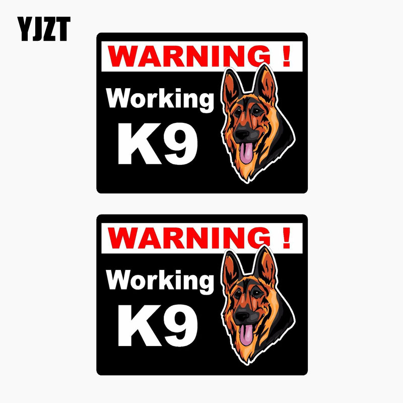 YJZT 10.2CM*7.8CM 2X Reflective Car Sticker WARNING WORKING K9 Lnterest The Tail Of The Car Decal C1-7652