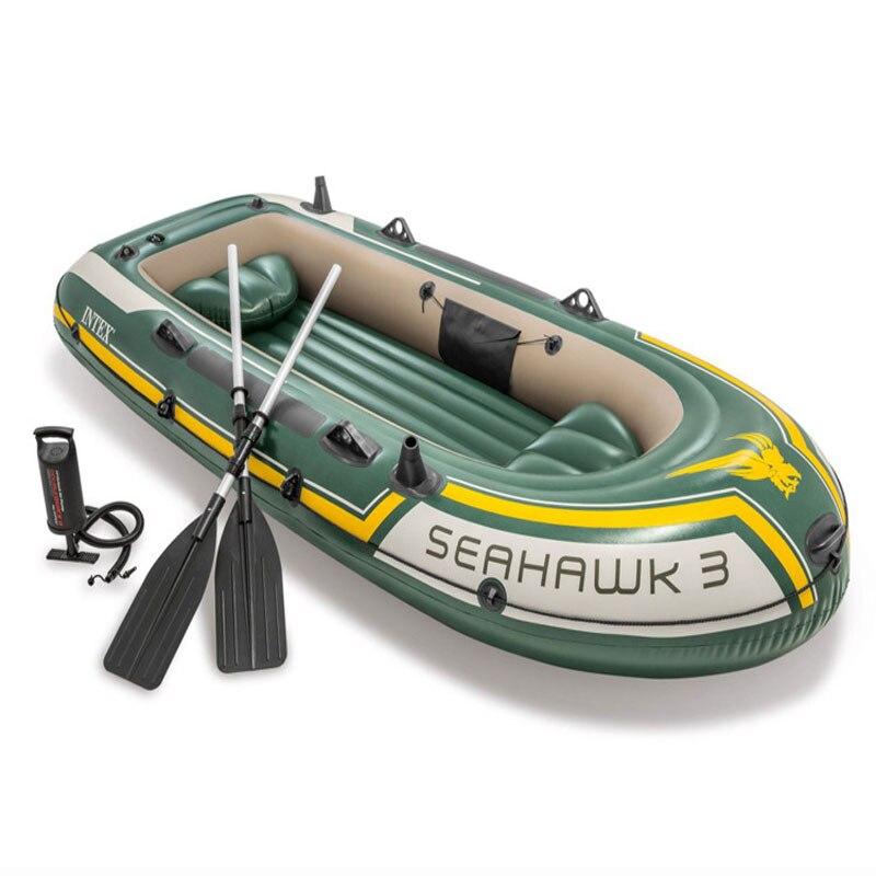 Bateau à rames gonflable INTEX 68380 bateau de pêche 3 personnes résistant à l'usure bateau professionnel avec rames et pompe Kayak de pêche