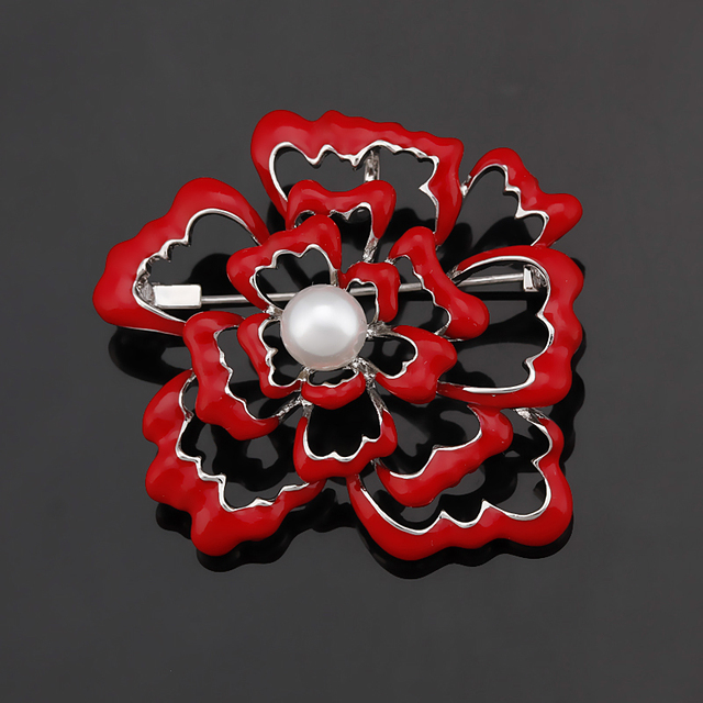 2017 New Arrival Red Enamel Rose Flower Fashion Brooch Pins for Women with Imita