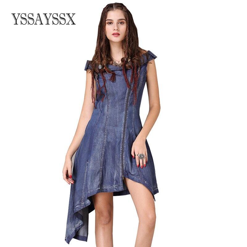 YSSAYSSX Vintage Irregular Word Collar Dress New Mid Waist Sleeveless Vintage Denim Dress Zipper Solid color classic Denim Dress in Dresses from Women 39 s Clothing