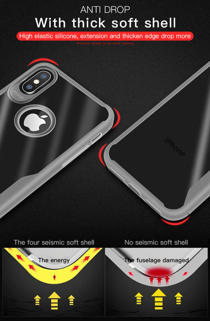 KIPX1089_16_JONSNOW Transparent Phone Case for iPhone 7 8 Plus 6S 6 Plus Soft Glue All-inclusive Protect Cover for iPhone X XR XS Max