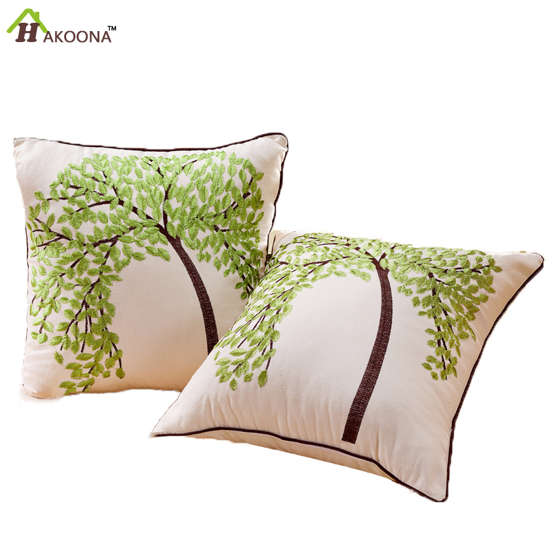 High Quality Car Printed Cotton Linen Blackout Curtain: HAKOONA Kabala Tree Embroidery Process Cushion Cover For