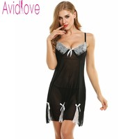 Avidlove Brand Spring Summer Sleepwear Sexy Lingerie Dress Babydoll Mesh Lace Trim Underwired Nightgown Sexy Ladies