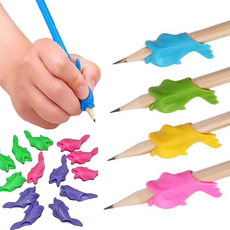 10Pcs/Set Children Pen Pencil Grip Holder Writing Posture Corrector For Children Writing Random Color