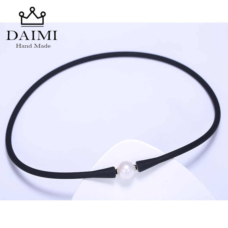 DAIMI Casual Black Silicone Necklace 11mm White Freshwater Pearl Minimalism Necklace 40-42cm Choker Waterproof Daily Jewelry