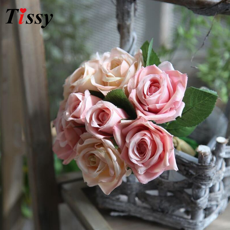 9PCS/Bouquet Wedding Flowers Artificial Rose Flowers Bouquet Silk Rose Flowers Wedding Favors Home Garden/Wedding Decoration