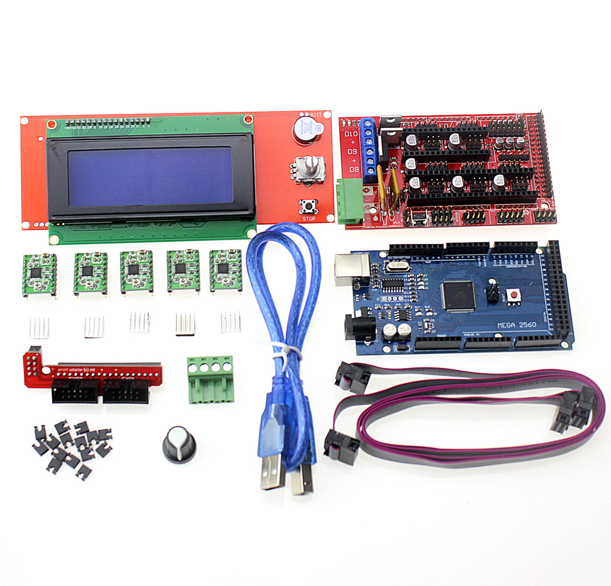 3D Printer Kit Mega 2560 R3 + 1Pcs RAMPS 1.4 Controller + 5Pcs A4988 Stepper Driver Module / RAMPS 1.4 2004 LCD Control new mega 2560 ramps 1 4 controller 4pcs a4988 stepper driver module for 3d printer kit for arduino reprap