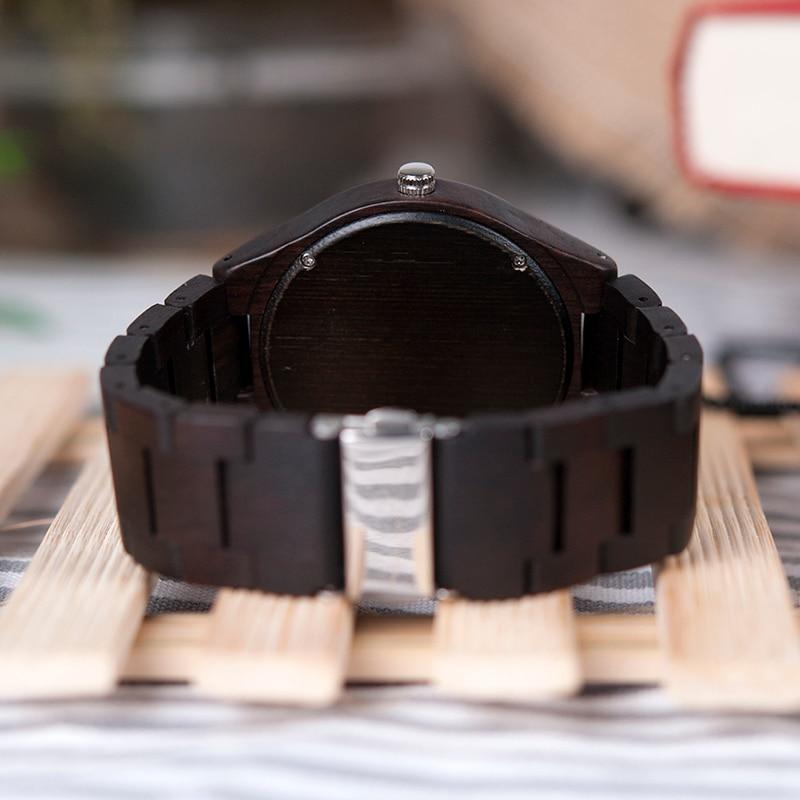BOBO BIRD Hombre Negro Ébano Relojes de madera Reloj de pulsera de - Relojes para hombres - foto 6