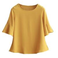 2019 Summer obesity Chiffon Blouse Plus Size 6XL 5XL Women flare sleeve Beautiful Self cultivati Shirt blouse Show thin