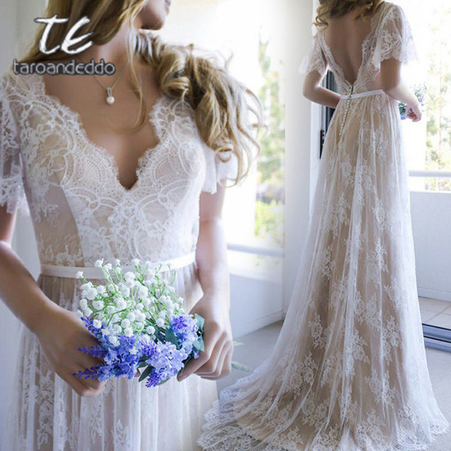 Champagne Lace V neck A line Princess Train Brush Bohemian Wedding Dress Butterfly Sleeve Nude Bridal