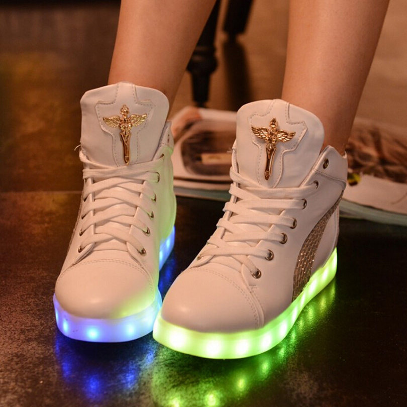 Glowing Casual Shoes High Top Light Up Female Shoes Women White Rhinestone Led  Shoes Simulation 7colors Fashion Luminous-in Men s Casual Shoes from Shoes  on ... 9e9db4510e