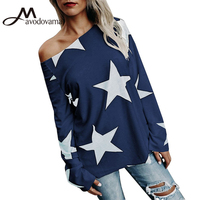Avodovama M 2017 Winter New Fashion Long Sleeve Blouse Women Flare Sleeve Skew Collar Print Loose