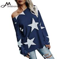 Avodovama M 2017 Winter New Fashion Long Sleeve Blouse Women Flare Sleeve Skew Collar Print Loose