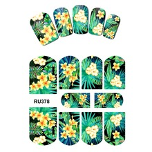 UPRETTEGO NAIL ART BEAUTY WATER DECAL SLIDER NAIL STICKER TROPICAL WINTER BLOSSOM WHITE LILY TURTLE BAMBOO RU373-378