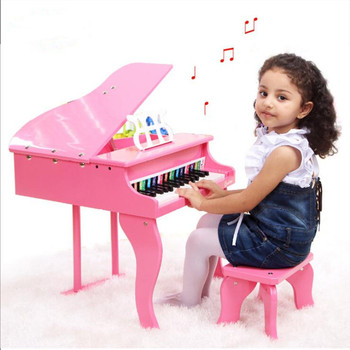 Learning Education Children Real Life Piano 30 Key High-grade Small Wooden Toy Musical Instrument with Spectrum Gift
