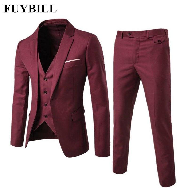 FuyBill 2018 Nouveau Style Mode Grande Taille hommes D'affaires Costume Trois Pièces de Costumes et Marié Mariage Robe décontracté Costume homme