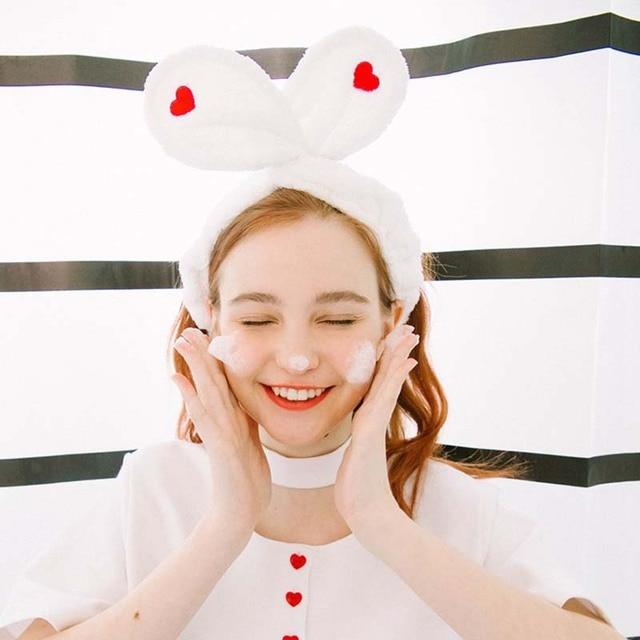 New Cute Embroidery Love Rabbit Ears Headband Korea Wash Face Makeup Hair  Band Headwraps 812663aa9b6