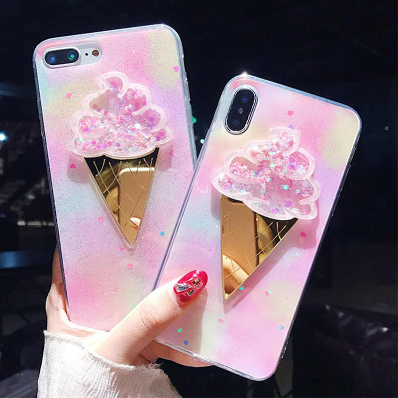 Shiny Ice Cream Glitter Powder Phone Case For iPhone 6 6S 7 8 Plus X Cute 3D Dynamic Gradient Soft TPU Phone Back Cover