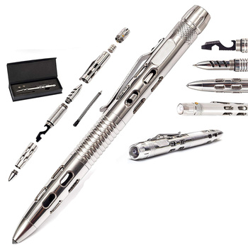 5pcs Stainless Steel Tactical Pen Self Defense Weapon Military & Police Grade Survival Tools Gift Boxed Kit